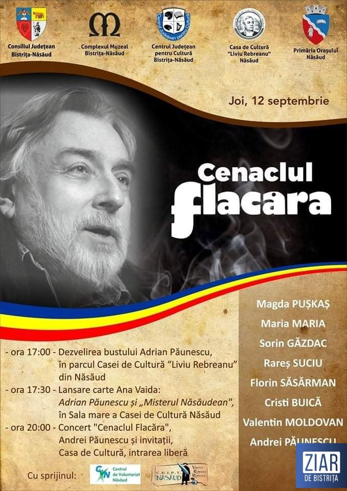 Un bust al poetului Adrian Păunescu va fi dezvelit la Năsăud, evenimentul fiind urmat de o lansare de carte și de un concert folk