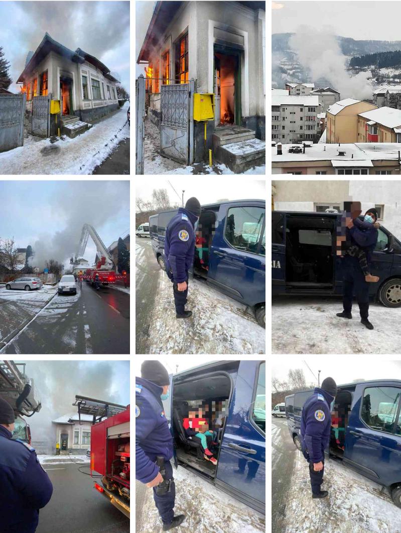 Casă din cartierul Ștefan cel Mare, cuprinsă de flăcări; șapte persoane au fost evacuate (FOTO)